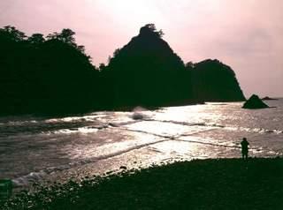 瀬浜海岸のトンボロ、1997年2月